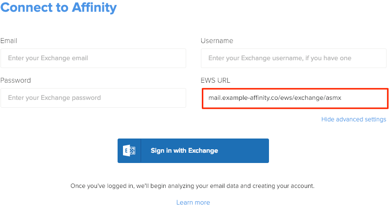 Troubleshooting for Exchange Login – Affinity Help Center